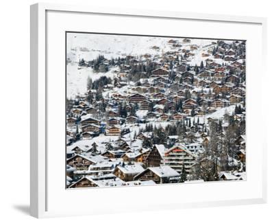 Ski Resort Chalets, Verbier, Valais, Wallis, Switzerland-Walter Bibikow-Framed Photographic Print