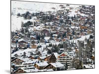 Ski Resort Chalets, Verbier, Valais, Wallis, Switzerland-Walter Bibikow-Mounted Photographic Print