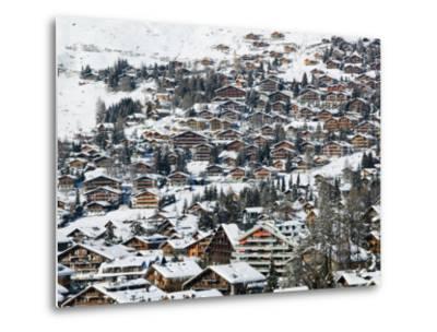 Ski Resort Chalets, Verbier, Valais, Wallis, Switzerland-Walter Bibikow-Metal Print