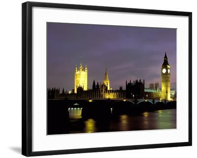 Big Ben and the Houses of Parliament at Night, London, England-Walter Bibikow-Framed Photographic Print
