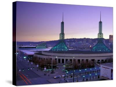 Convention Center at Sunset, Portland, Oregon, USA-Janis Miglavs-Stretched Canvas Print