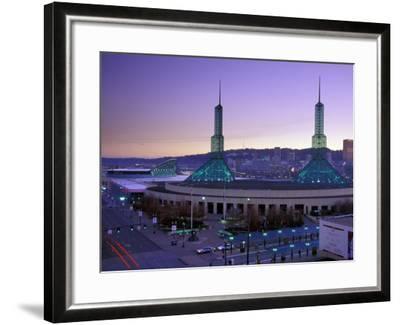 Convention Center at Sunset, Portland, Oregon, USA-Janis Miglavs-Framed Photographic Print