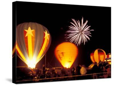 Fireworks During Night Glow Event, 30th Annual Walla Walla Hot Air Balloon Stampede, Washington-Brent Bergherm-Stretched Canvas Print