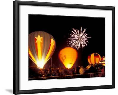 Fireworks During Night Glow Event, 30th Annual Walla Walla Hot Air Balloon Stampede, Washington-Brent Bergherm-Framed Photographic Print