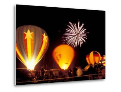 Fireworks During Night Glow Event, 30th Annual Walla Walla Hot Air Balloon Stampede, Washington-Brent Bergherm-Metal Print