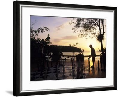Playing Floor Chess at Sunset at Grand Lido Sans Souci Resort, Ocho Rios, Jamaica-Holger Leue-Framed Photographic Print