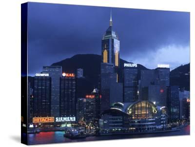 Hong Kong Convention Centre at Dusk, Seen from Kowloon, Hong Kong, China-Holger Leue-Stretched Canvas Print