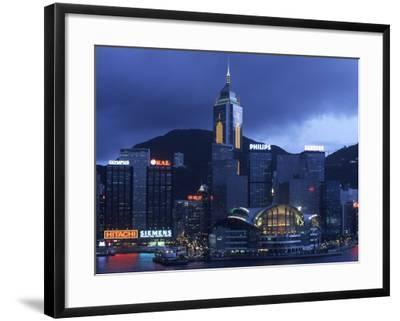 Hong Kong Convention Centre at Dusk, Seen from Kowloon, Hong Kong, China-Holger Leue-Framed Photographic Print