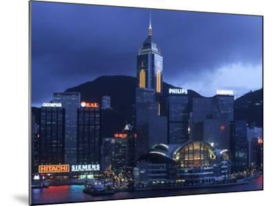 Hong Kong Convention Centre at Dusk, Seen from Kowloon, Hong Kong, China-Holger Leue-Mounted Photographic Print