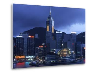 Hong Kong Convention Centre at Dusk, Seen from Kowloon, Hong Kong, China-Holger Leue-Metal Print