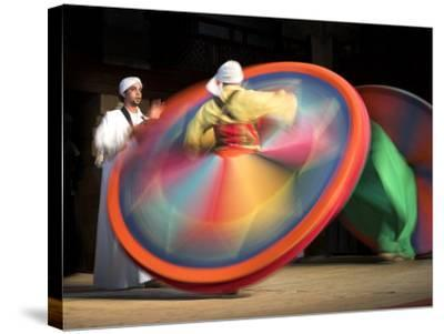 Solo Drummer and Two Sufi Dancers, Egypt-David Clapp-Stretched Canvas Print