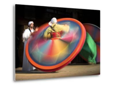 Solo Drummer and Two Sufi Dancers, Egypt-David Clapp-Metal Print