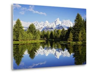 Snow-Capped Teton Range Reflected in Snake River, Wyoming, USA-Mark Hamblin-Metal Print