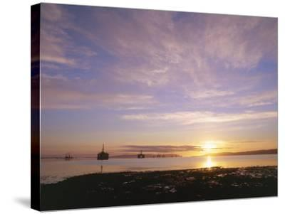 Udale Bay and Oil Rigs at Dawn, Ross-Shire-Iain Sarjeant-Stretched Canvas Print