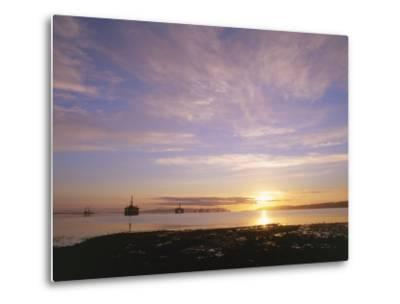 Udale Bay and Oil Rigs at Dawn, Ross-Shire-Iain Sarjeant-Metal Print