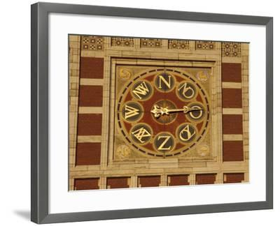 Central Station Wind Scale on Red Brick Tower, Amsterdam, Netherlands-Michele Molinari-Framed Photographic Print