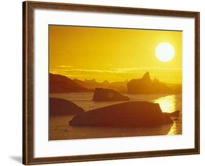 Sunset on Icebergs in the Bismark Strait, Petermann Island, Alaska, USA-Hugh Rose-Framed Photographic Print