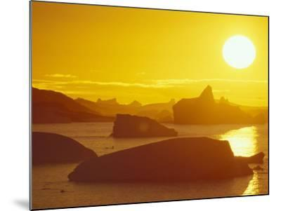 Sunset on Icebergs in the Bismark Strait, Petermann Island, Alaska, USA-Hugh Rose-Mounted Photographic Print