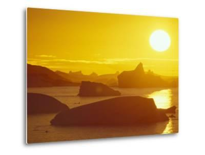 Sunset on Icebergs in the Bismark Strait, Petermann Island, Alaska, USA-Hugh Rose-Metal Print