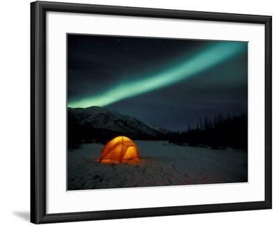 Camper's Tent Under Curtains of Green Northern Lights, Brooks Range, Alaska, USA-Hugh Rose-Framed Photographic Print
