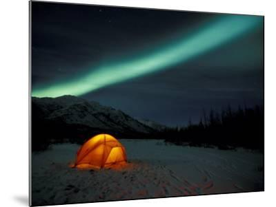 Camper's Tent Under Curtains of Green Northern Lights, Brooks Range, Alaska, USA-Hugh Rose-Mounted Photographic Print