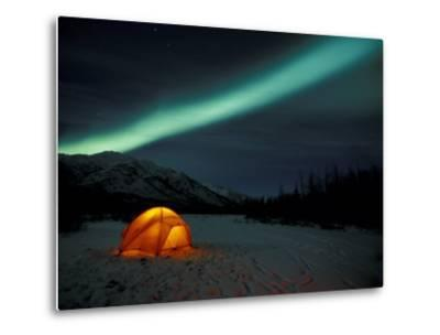 Camper's Tent Under Curtains of Green Northern Lights, Brooks Range, Alaska, USA-Hugh Rose-Metal Print