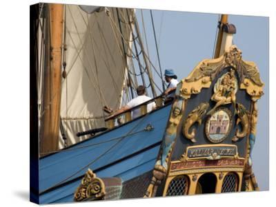 Carved Stern of Tall Ship the Kalmar Nyckel, Chesapeake Bay, Maryland, USA-Scott T^ Smith-Stretched Canvas Print