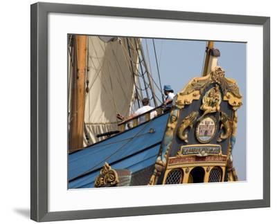 Carved Stern of Tall Ship the Kalmar Nyckel, Chesapeake Bay, Maryland, USA-Scott T^ Smith-Framed Photographic Print