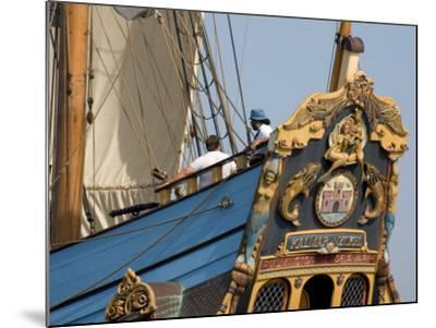 Carved Stern of Tall Ship the Kalmar Nyckel, Chesapeake Bay, Maryland, USA-Scott T^ Smith-Mounted Photographic Print