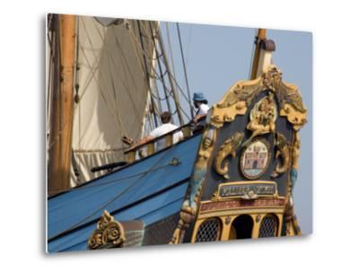 Carved Stern of Tall Ship the Kalmar Nyckel, Chesapeake Bay, Maryland, USA-Scott T^ Smith-Metal Print