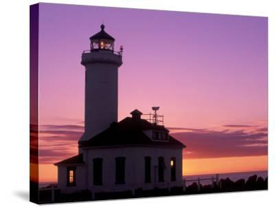 Pt Wilson Lighthouse, Entrance to Admiralty Inlet, Washington, USA-Jamie & Judy Wild-Stretched Canvas Print