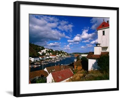 Fire Lookout Tower Stand Sentinel Over Risor, Seaside Fishing Town, Risor, Norway-Anders Blomqvist-Framed Photographic Print