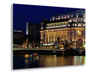 Fullerton Hotel at Night, Singapore, Singapore-Phil Weymouth-Metal Print