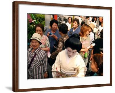 Geisha in Kimono Signing Autograph for Fan, Tokyo, Japan-Greg Elms-Framed Photographic Print