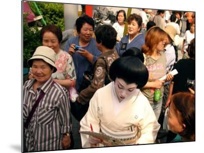 Geisha in Kimono Signing Autograph for Fan, Tokyo, Japan-Greg Elms-Mounted Photographic Print
