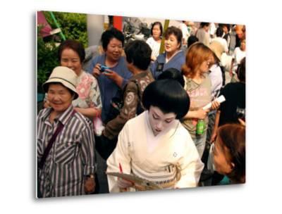 Geisha in Kimono Signing Autograph for Fan, Tokyo, Japan-Greg Elms-Metal Print