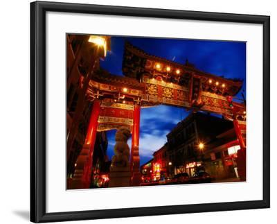 Chinatown Main Gate at Night, Victoria, Canada-Lawrence Worcester-Framed Photographic Print