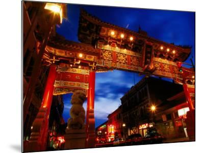 Chinatown Main Gate at Night, Victoria, Canada-Lawrence Worcester-Mounted Photographic Print