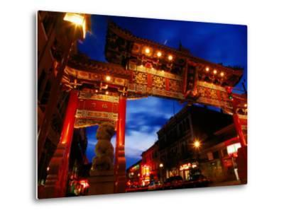Chinatown Main Gate at Night, Victoria, Canada-Lawrence Worcester-Metal Print