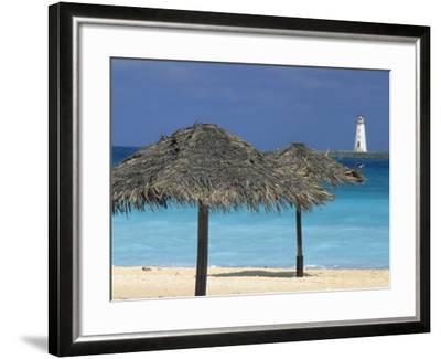 Lighthouse and Thatch Palapa, Nassau, Bahamas, Caribbean-Greg Johnston-Framed Photographic Print