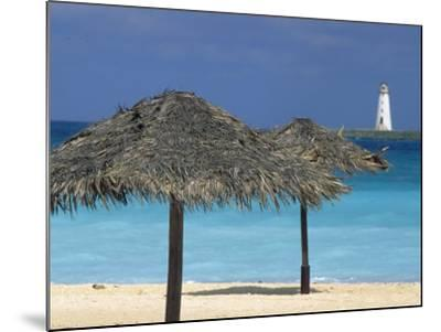 Lighthouse and Thatch Palapa, Nassau, Bahamas, Caribbean-Greg Johnston-Mounted Photographic Print