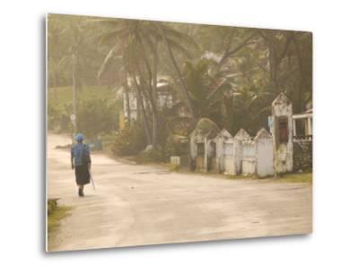 Woman Walking in Sea Mist, Bathsheba, Barbados-Walter Bibikow-Metal Print