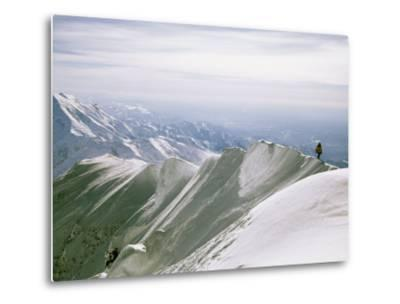 Mountain Climber Hikes along a Mountain Ridge in Denali-Bill Hatcher-Metal Print