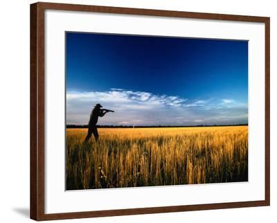 Mallee Farmer, Quail Shooting in Wheat Stubble - Mallee, Victoria, Australia-John Hay-Framed Photographic Print