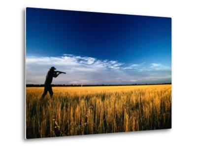 Mallee Farmer, Quail Shooting in Wheat Stubble - Mallee, Victoria, Australia-John Hay-Metal Print