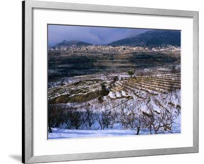 Snow Covered Fields and Village in the Qadisha Valley, Bcharre, Lebanon-Mark Daffey-Framed Photographic Print