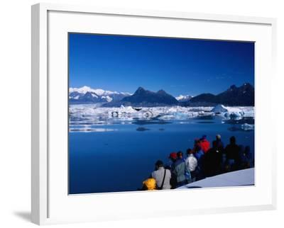 People on Tour Boat Looking Over Columbia Glacier, Prince William Sound, USA-Brent Winebrenner-Framed Photographic Print