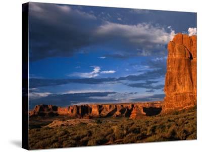 """Entrada"" Sandstone Cliffs and Desert Landscape, Arches National Park, USA-Brent Winebrenner-Stretched Canvas Print"