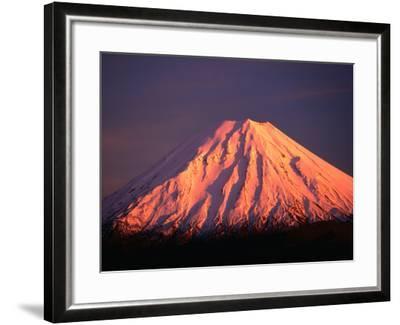 Mt. Ngauruhoe Illuminated in Sunlight, Tongariro National Park, Manawatu-Wanganui, New Zealand-David Wall-Framed Photographic Print