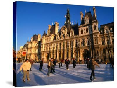 Ice-Skating in Front of Paris Hotel De Ville (City Hall), Paris, France-Martin Moos-Stretched Canvas Print